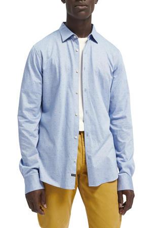slim fit overhemd met all over print lichtblauw