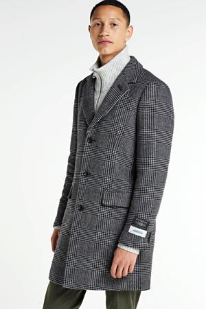 geruite winterjas met wol zwart