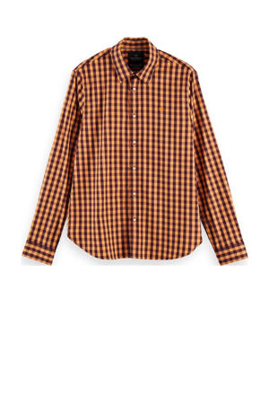 geruit regular fit overhemd licht oranje/aubergine