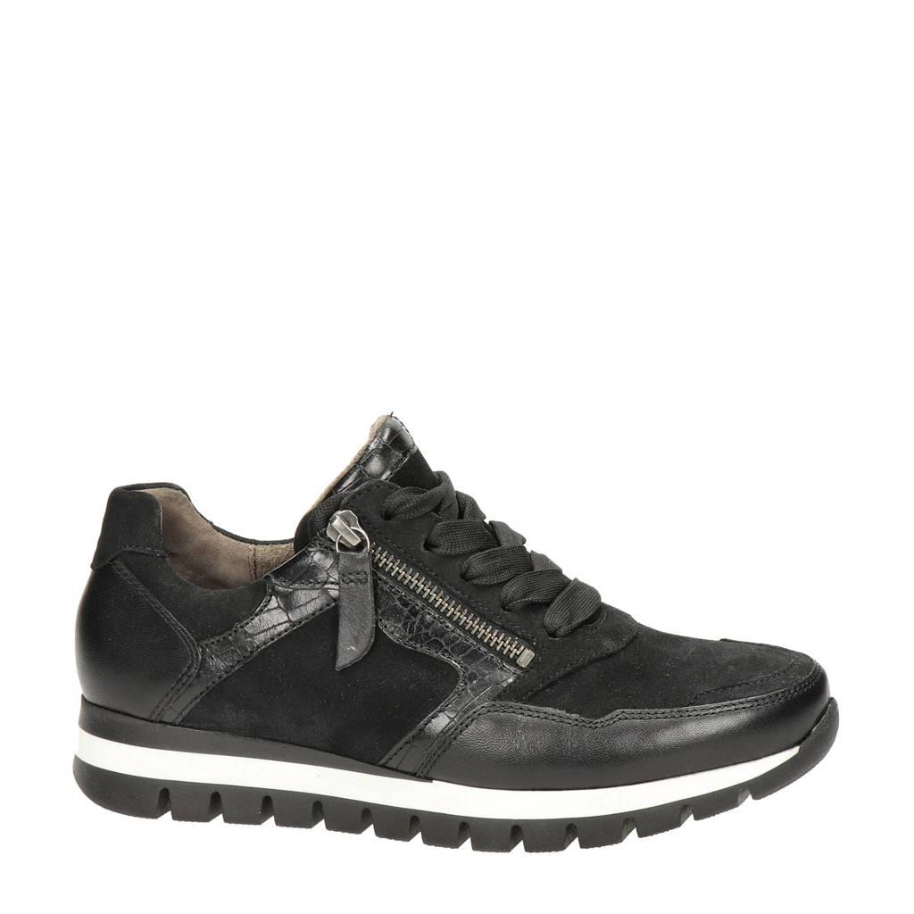 Gabor 438 comfort leren sneakers zwart, Zwart