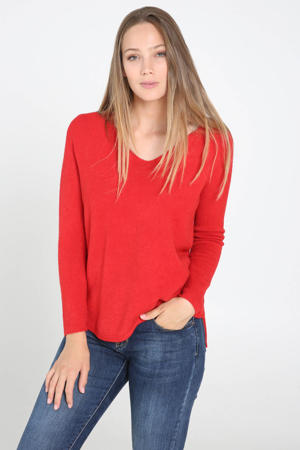 fijngebreide trui rood