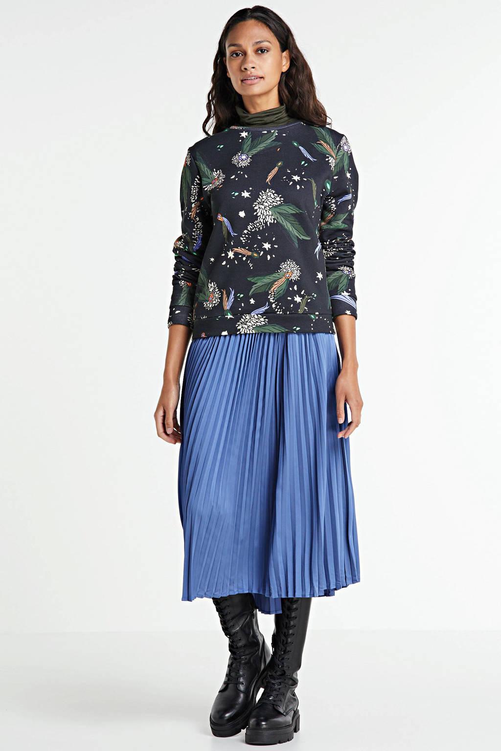 POM Amsterdam by Katja trui met all over print zwart/groen/blauw, Zwart/groen/blauw