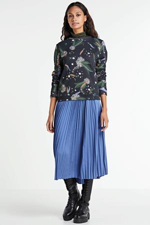 trui met all over print zwart/groen/blauw