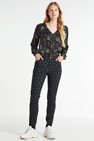 skinny broek met stippen zwart