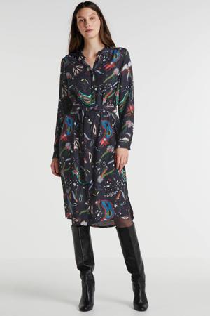 jurk met all over print donkerblauw/roze/groen