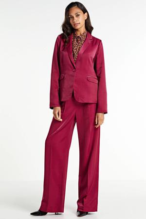 high waist loose fit broek rood