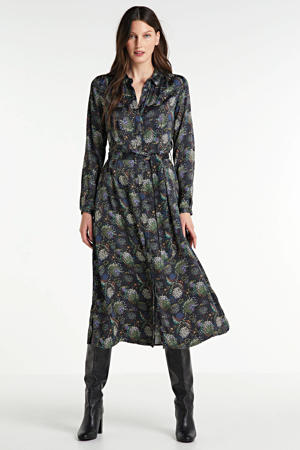 blousejurk met all over print donkerblauw