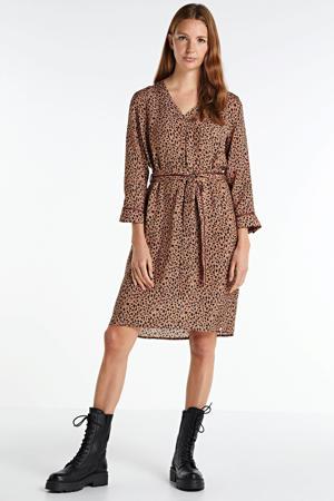 blousejurk met all over print bruin/zwart
