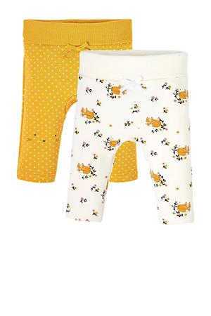 legging - set van 2 okergeel/wit