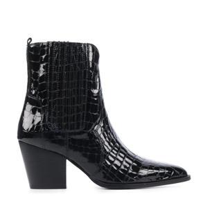 12226  lakleren cowboylaarzen crocoprint zwart