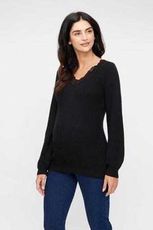 gebreide zwangerschapstrui Madelain met kant zwart