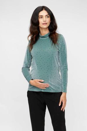 ribgebreide zwangerschapslongsleeve Elle met all over print turquoise