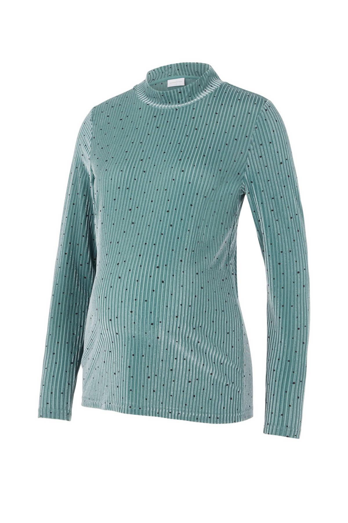MAMALICIOUS ribgebreide zwangerschapslongsleeve Elle met all over print turquoise online kopen