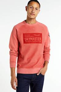 PME Legend sweater met printopdruk zalm, Zalm