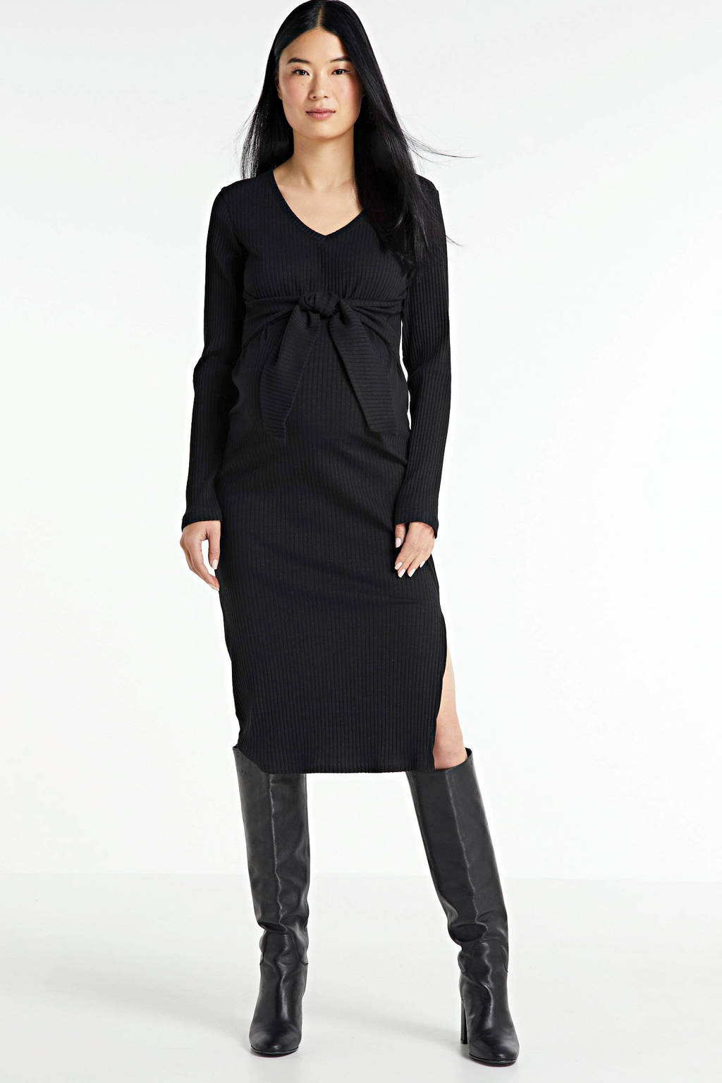 MAMALICIOUS ribgebreide zwangerschapsjurk Jaini met biologisch katoen zwart, Zwart