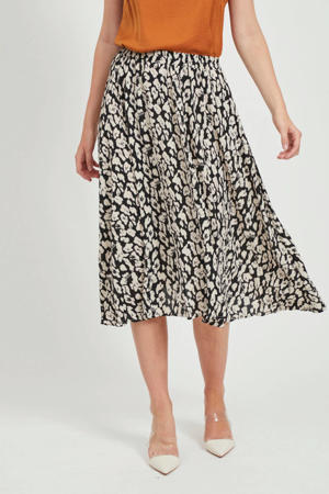 rok Wella met all over print zwart/beige