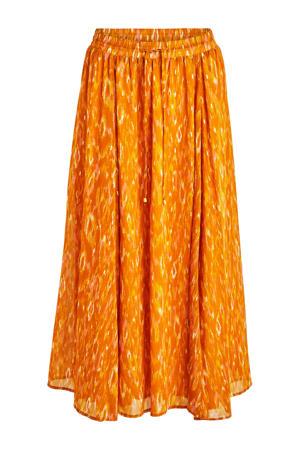 rok Avina met all over print en plooien oranje