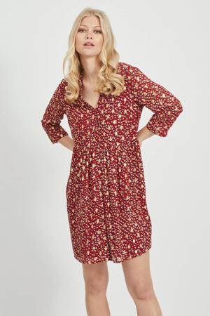 jurk Menakaya met all over print en plooien rood/goud