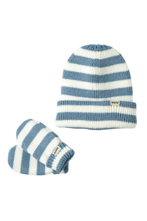 Kosuke gift set muts en wanten blauw/wit