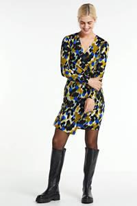 anytime wikkel-look jurk met print zwart/groen, Zwart/groen/oker
