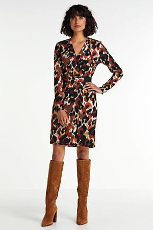 wikkel-look jurk met print brique/bruin