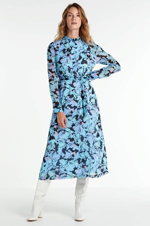 blousejurk Amie met all over print en ceintuur blauw/multi