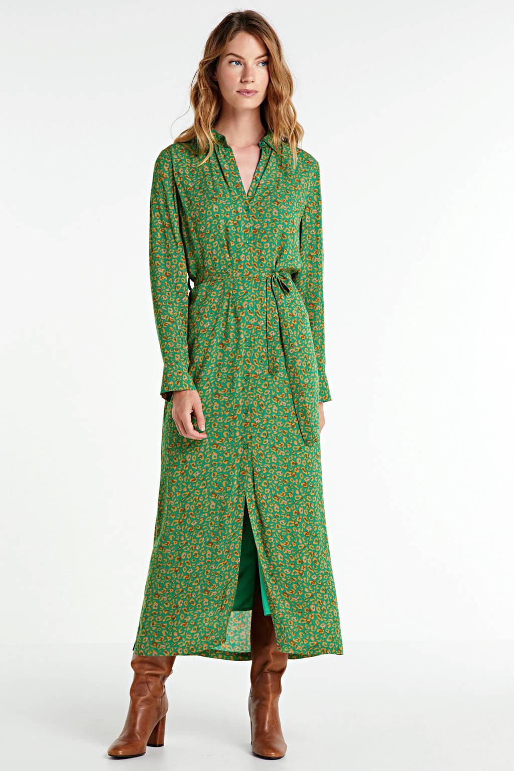 Another-Label blousejurk Adeleide met panterprint en ceintuur groen, Groen