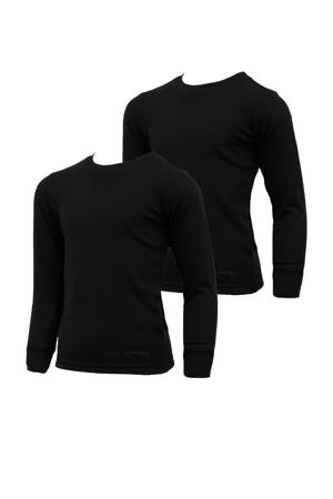 unisex thermoshirt zwart (set van 2)