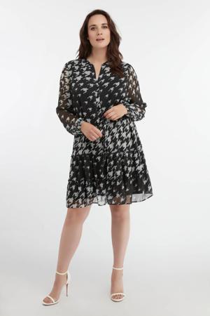 semi-transparante A-lijn jurk met pied-de-poule en ruches zwart/wit