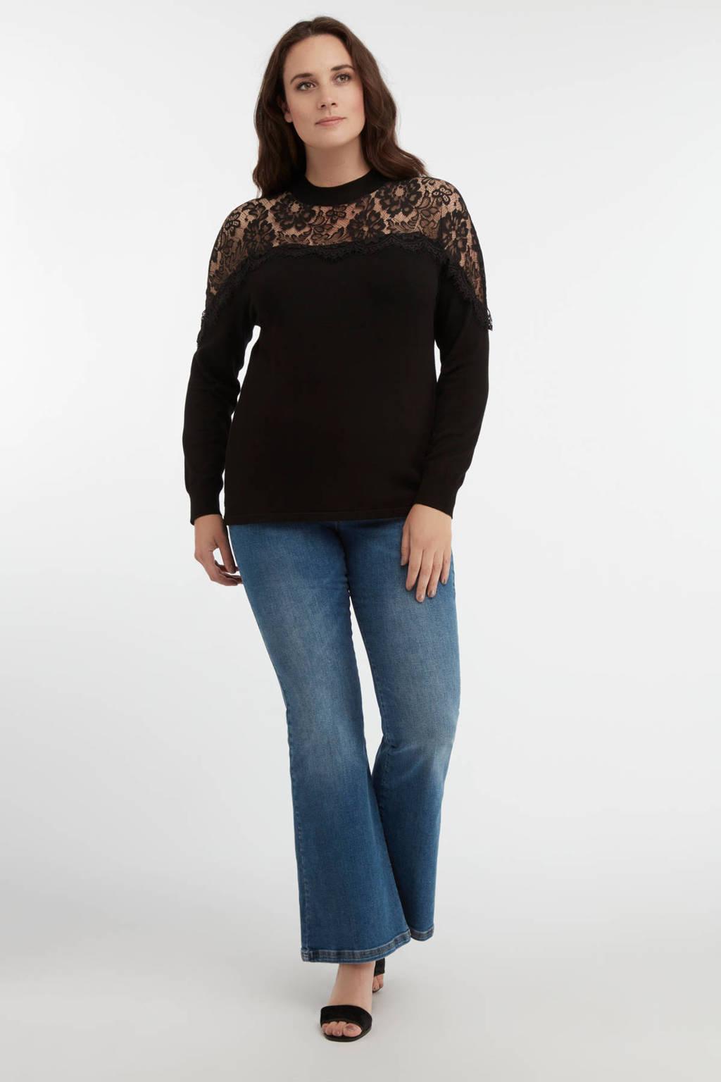 MS Mode semi-transparante trui met kant zwart, Zwart
