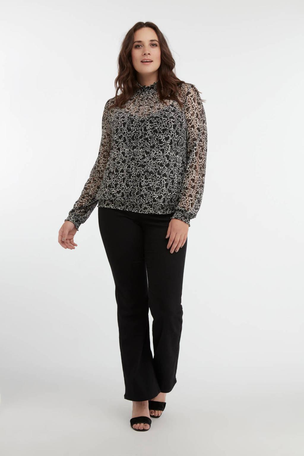 MS Mode semi-transparante top met all over print zwart/wit, Zwart/wit