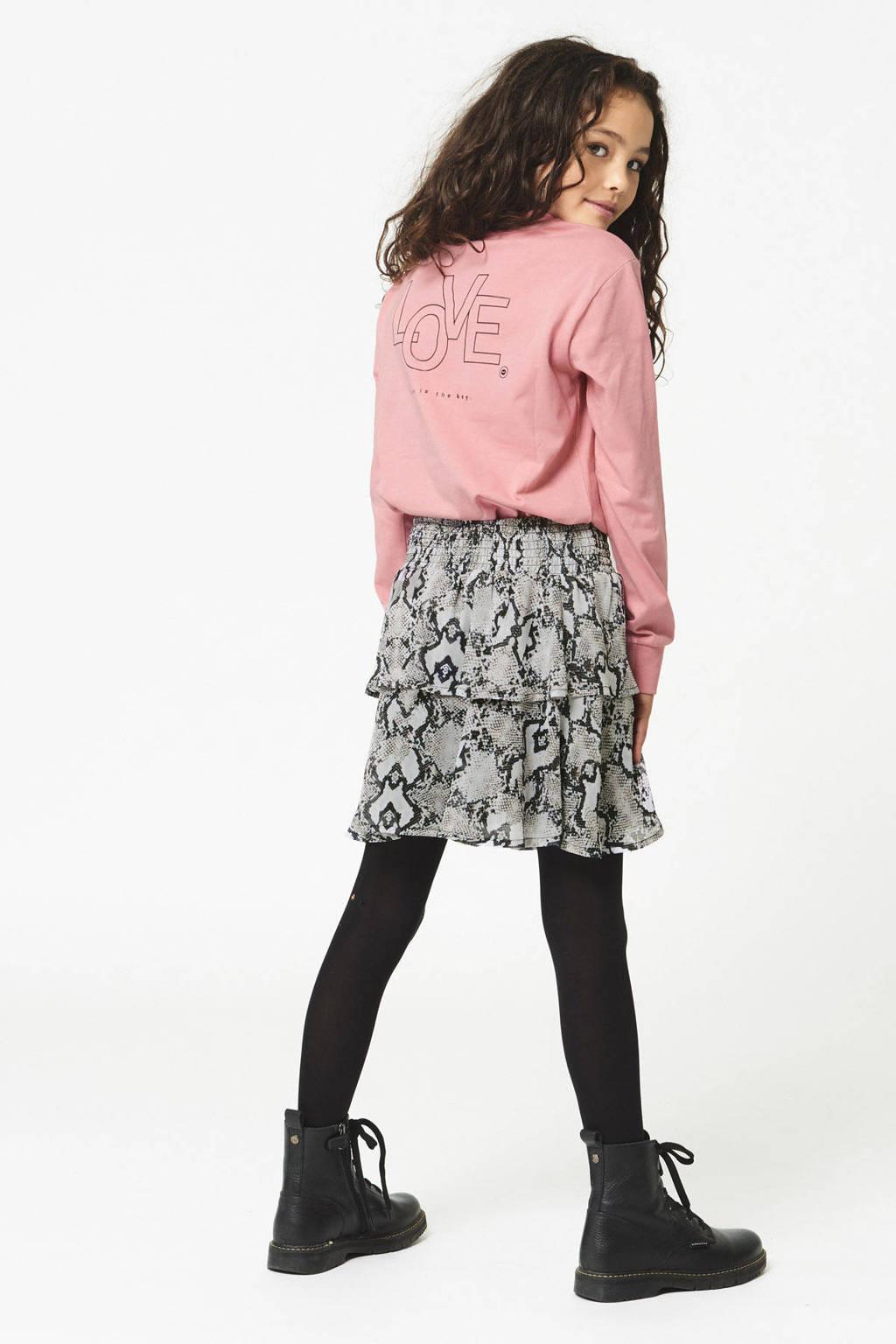 CoolCat Junior rok Ruby met slangenprint beige/zwart, Beige/zwart