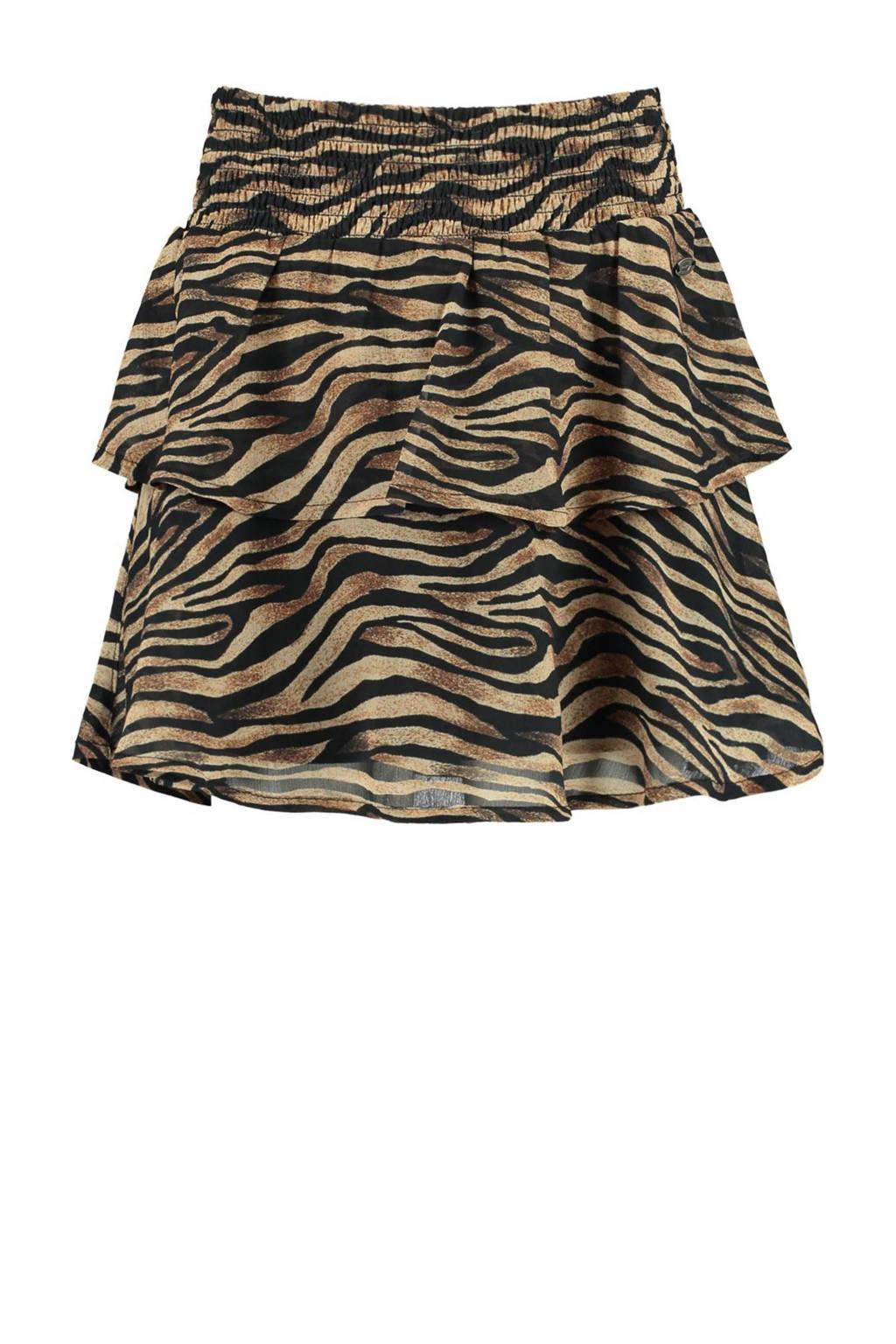 CoolCat Junior rok Ruby met zebraprint bruin/zwart, Bruin/zwart