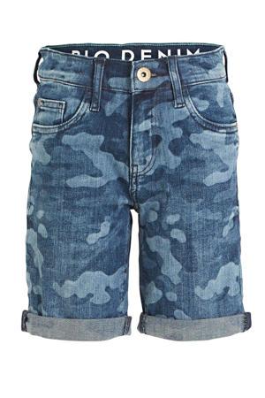 jeans bermuda met camouflageprint blauw