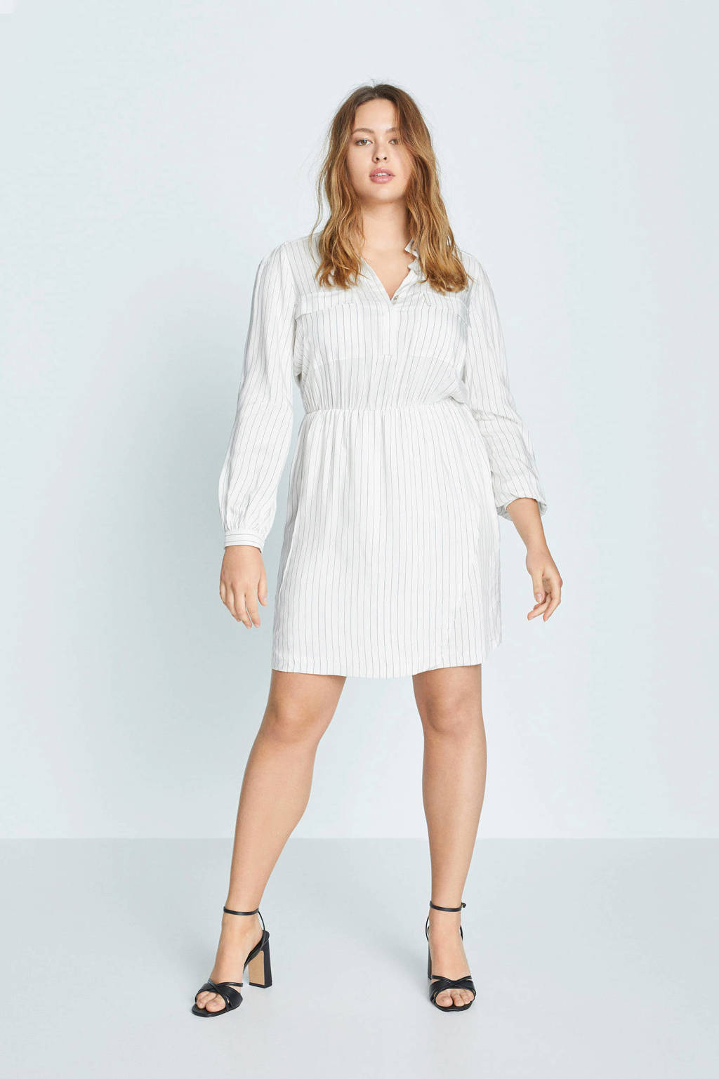 Violeta by Mango A-lijn jurk met krijtstreep wit, Wit