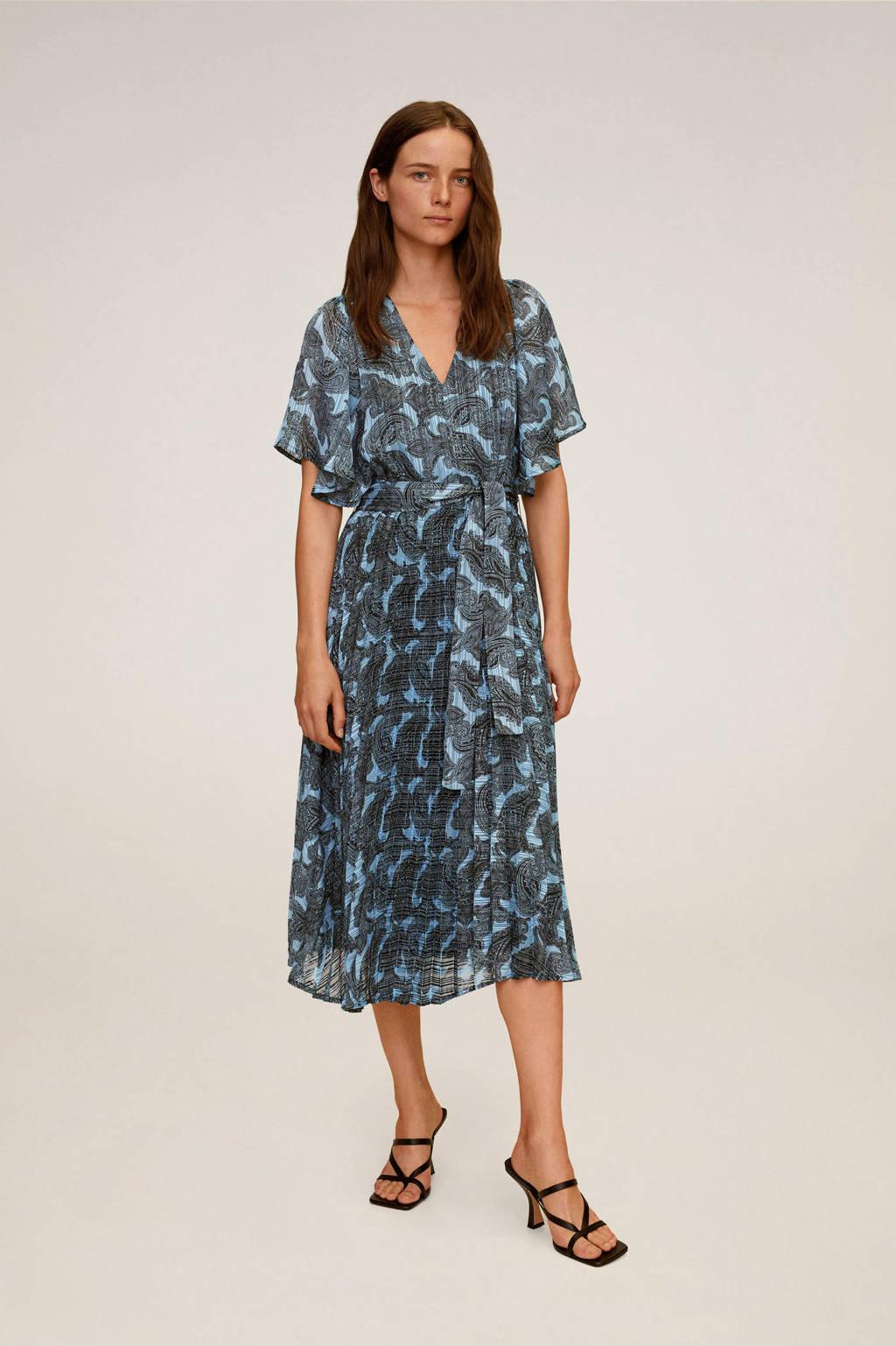 Mango jurk met all over print en ceintuur blauw/zwart, Blauw/zwart