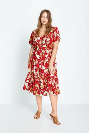 off shoulder jurk met bladprint en volant rood/wit