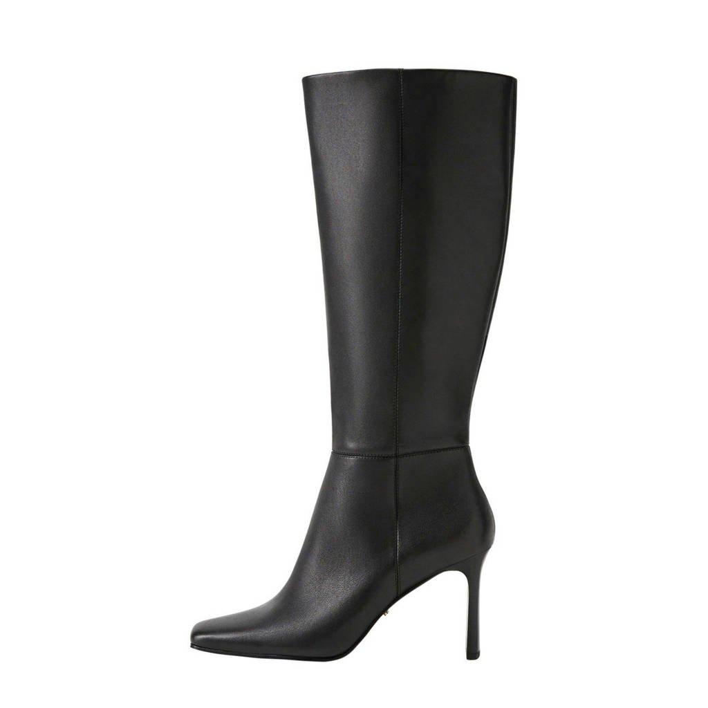 Violeta by Mango   leren laarzen zwart, Zwart
