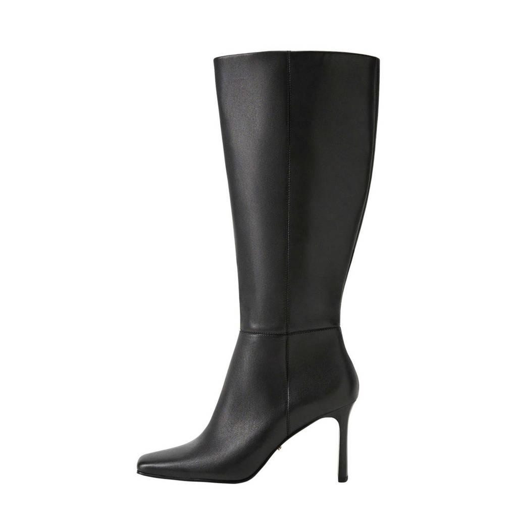 Violeta by Mango   leren laarzen zwart (brede schacht), Zwart