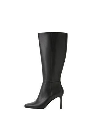 leren laarzen zwart (brede schacht)