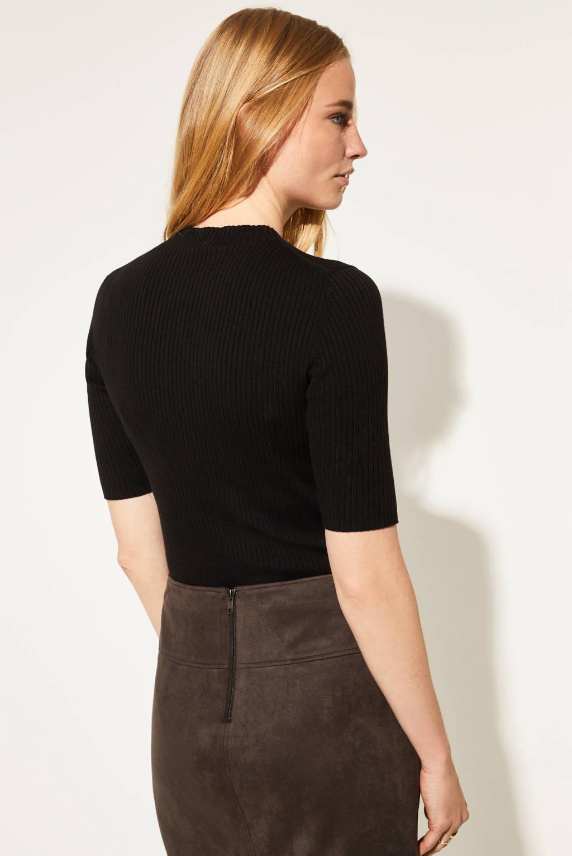 comma ribgebreide trui zwart, Zwart