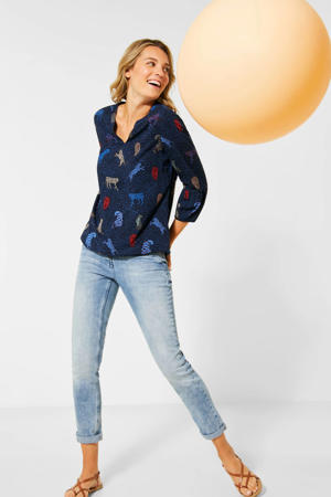 top met all over print donkerblauw