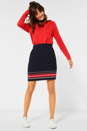 rok met printopdruk en textuur zwart/rood/wit