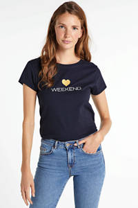 JOSS T-shirt met tekstprint zwart, Zwart - weekend