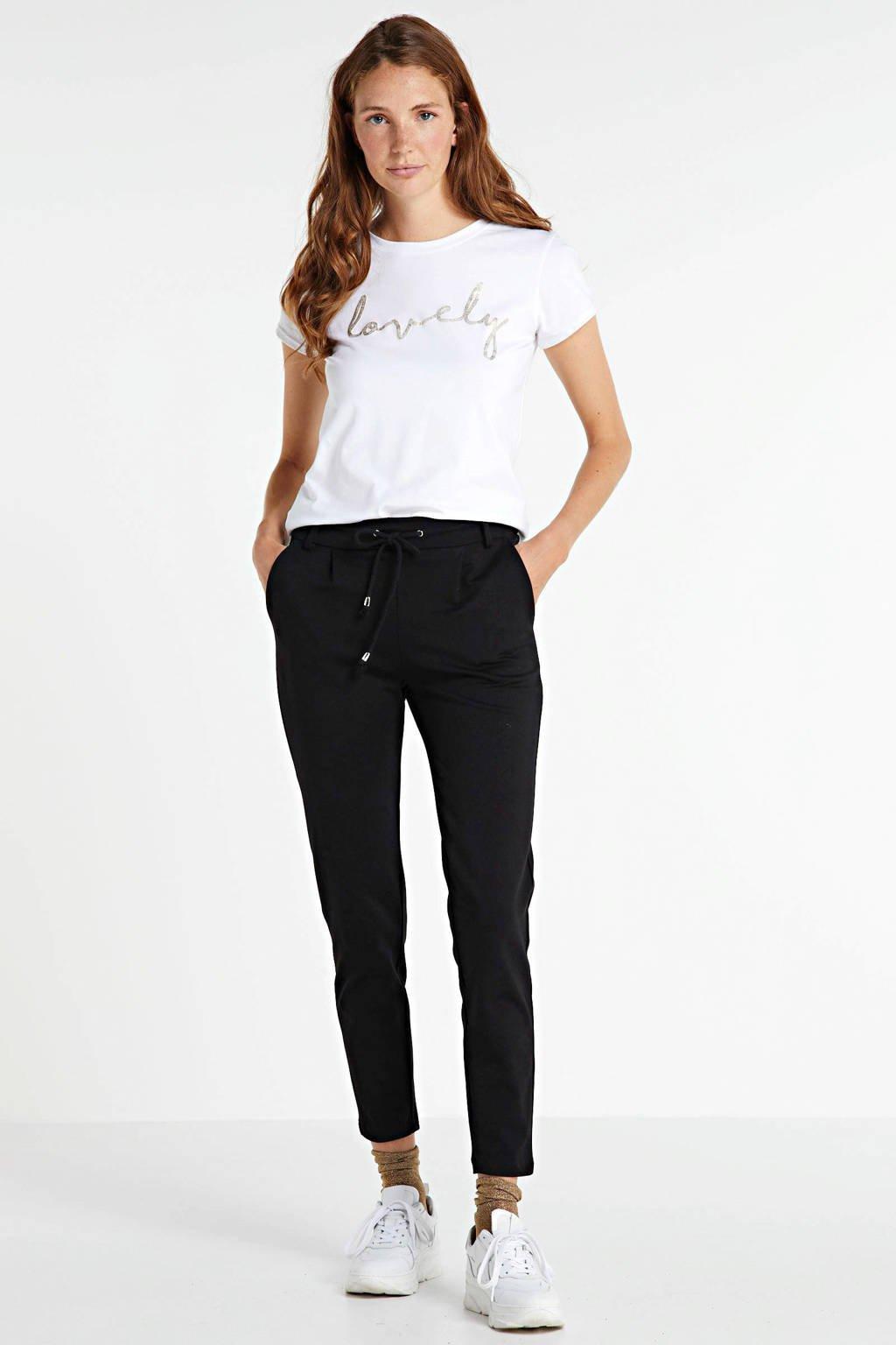 JOSS T-shirt met tekstprint wit, Wit - lovely