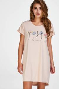Hunkemöller nachthemd met printopdruk lichtroze, Lichtroze
