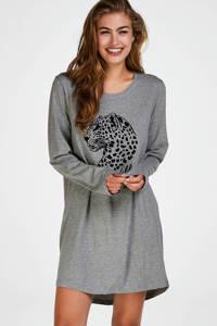 Hunkemöller nachthemd met printopdruk grijs, Grijs/zwart