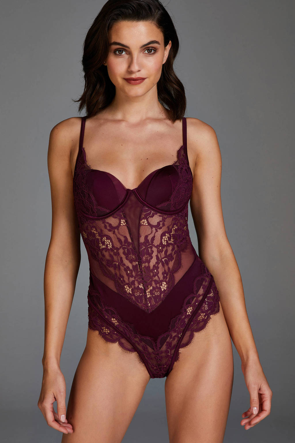 Hunkemöller Noir stringbody Genevieve bordeauxrood, Bordeauxrood