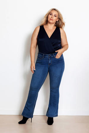high waist flared jeans BOBI dark denim