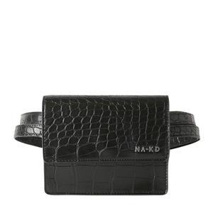 heuptas met crocoprint zwart